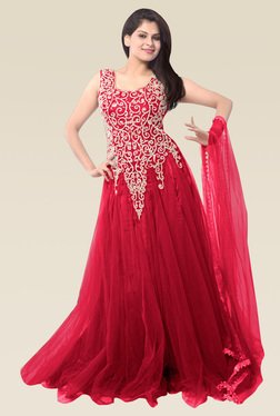 Ethnic Basket Pink Sleeveless Semi Stitched Gown