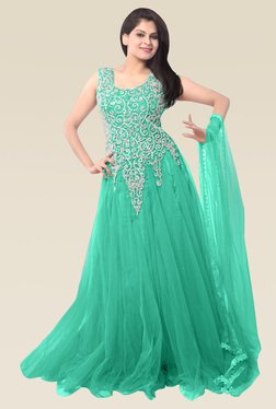 Ethnic Basket Sea Green Sleeveless Semi Stitched Gown