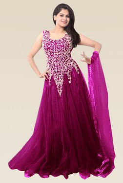 Ethnic Basket Magenta Sleeveless Semi Stitched Gown