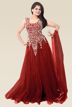 Ethnic Basket Red Sleeveless Semi Stitched Gown