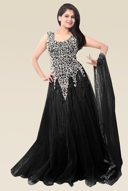 Ethnic Basket Black Sleeveless Semi Stitched Gown
