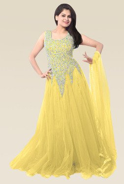 Ethnic Basket Yellow Sleeveless Semi Stitched Gown