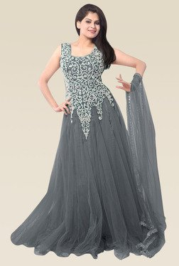 Ethnic Basket Grey Sleeveless Semi Stitched Gown
