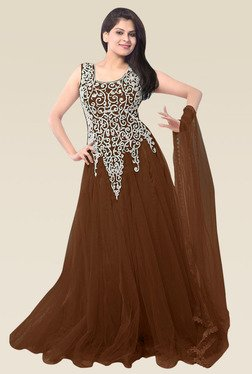 Ethnic Basket Brown Sleeveless Semi Stitched Gown