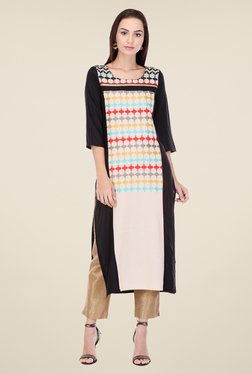 W Cream & Black Printed Kurta
