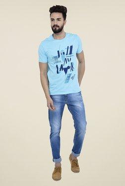 Blue Buddha Sky Blue Graphic Print T Shirt