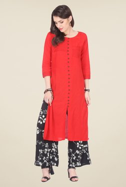 Varanga Red & Black Embroidered Kurta With Palazzo - Mp000000000804702
