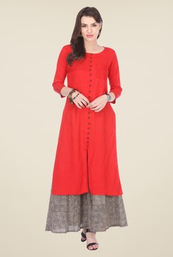Varanga Red & Black Embroidered Kurta With Palazzo - Mp000000000803196