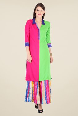 Varanga Pink Solid Kurta With Palazzo - Mp000000000804738
