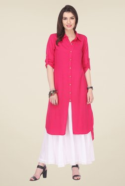 Varanga Pink & White Solid Kurta With Palazzo - Mp000000000804767