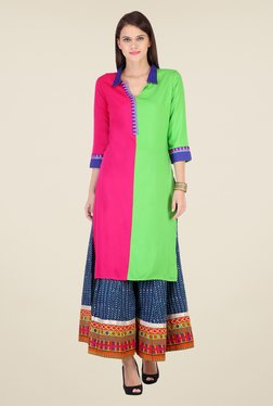Varanga Pink & Blue Solid Kurta With Palazzo - Mp000000000804770