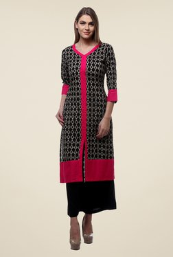 Varanga Black Printed Kurta With Palazzo - Mp000000000804777