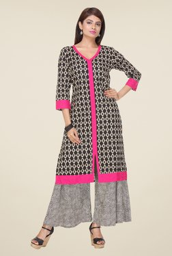 Varanga Black Printed Kurta With Palazzo - Mp000000000804783