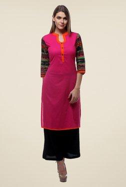 Varanga Pink & Black Solid Kurta With Palazzo