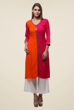 Varanga Pink & White Solid Kurta With Palazzo - Mp000000000804850