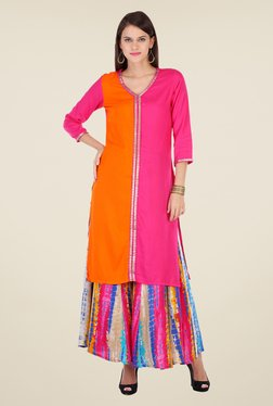 Varanga Pink Solid Kurta With Palazzo - Mp000000000804879