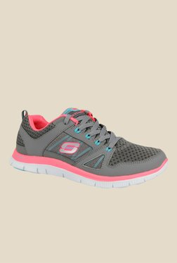Skechers Flex Appeal Grey & Pink Running Shoes