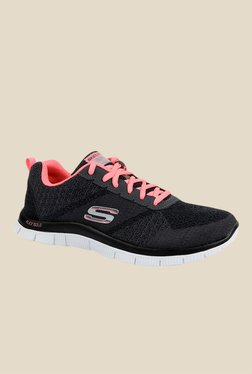 Skechers Flex Appeal Dark Grey & Pink Running Shoes