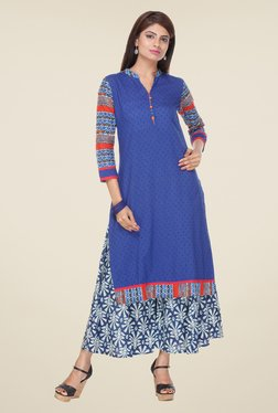 Varanga Blue Self Print Kurta With Palazzo