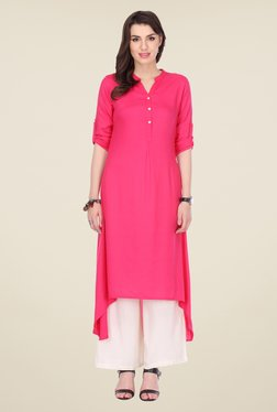 Varanga Pink & White Solid Kurta With Palazzo - Mp000000000805023