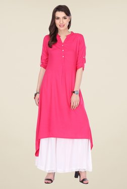 Varanga Pink & White Solid Kurta With Palazzo - Mp000000000805048