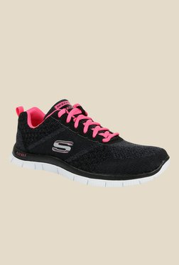 Skechers Flex Appeal Black & Pink Running Shoes