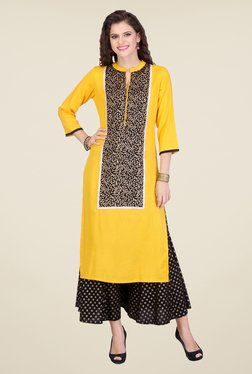 Varanga Yellow & Black Printed Kurta With Palazzo - Mp000000000803465