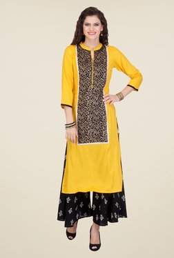 Varanga Yellow & Black Printed Kurta With Palazzo - Mp000000000804917