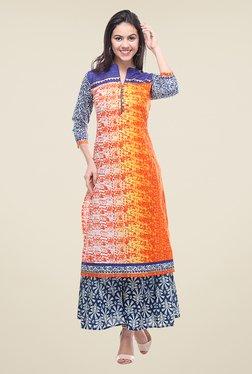 Varanga Orange & Blue Printed Kurta With Palazzo