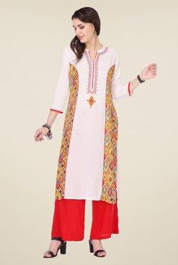 Varanga White & Red Printed Kurta With Palazzo - Mp000000000805155