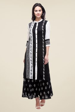 Varanga Black Embroidered Kurta With Palazzo