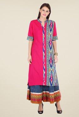 Varanga Pink & Blue Printed Kurta With Palazzo