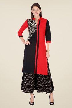Varanga Red & Black Embroidered Kurta With Palazzo