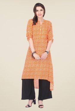 Varanga Orange & Black Printed Kurta With Palazzo