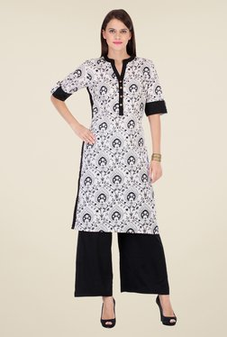 Varanga White & Black Printed Kurta With Palazzo - Mp000000000803677