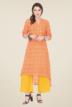 Varanga Orange & Mustard Printed Kurta With Palazzo