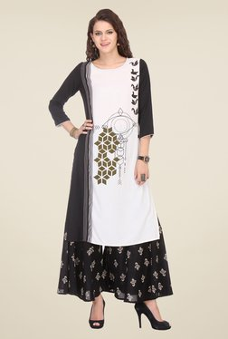 Varanga White & Black Printed Kurta With Palazzo - Mp000000000805573