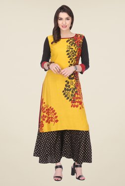 Varanga Yellow & Black Printed Kurta With Palazzo - Mp000000000805614