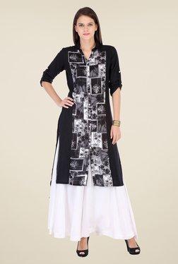 Varanga Black & White Printed Kurta With Palazzo - Mp000000000805669