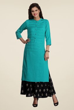 Varanga Teal & Black Solid Kurta With Palazzo