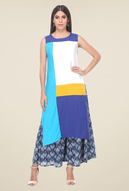 Varanga White & Blue Solid Kurta With Palazzo - Mp000000000805974
