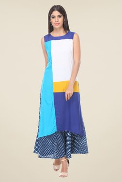 Varanga White & Blue Solid Kurta With Palazzo - Mp000000000810844