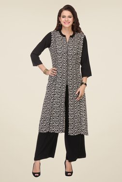 Varanga Black Printed Kurta With Palazzo - Mp000000000805996