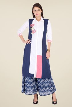 Varanga White & Blue Embroidered Kurta With Palazzo - Mp000000000806012