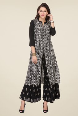 Varanga Black Printed Kurta With Palazzo - Mp000000000806112
