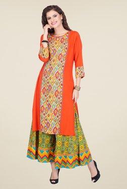 Varanga Orange & Yellow Printed Kurta With Palazzo