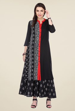 Varanga Black Printed Kurta With Palazzo - Mp000000000806247