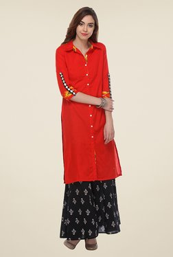 Varanga Red & Black Solid Kurta With Palazzo