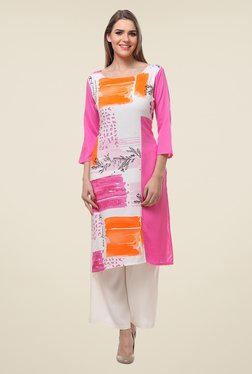 Varanga Pink & White Printed Kurta With Palazzo - Mp000000000806544