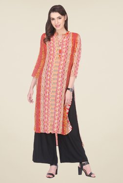 Varanga Red & Black Printed Kurta With Palazzo - Mp000000000806872